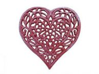 Rustic Red Whitewashed Cast Iron Heart Shaped Trivet 7