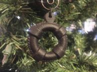 Rustic Black Cast Iron Lifering Christmas Ornament 5