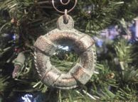 Antique Bronze Cast Iron Lifering Christmas Ornament 5