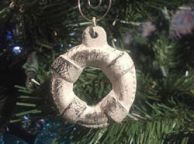 Rustic Whitewashed Cast Iron Lifering Christmas Ornament 4