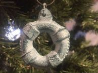 Rustic Dark Blue Whitewashed Cast Iron Lifering Christmas Ornament 5