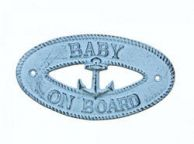 Dark Blue Whitewashed Cast Iron Baby on Board with Anchor Sign 8