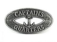 Antique Silver Cast Iron Captains Quarters with Anchor Sign 8