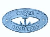 Dark Blue Whitewashed Cast Iron Crews Quarters with Anchor Sign 8