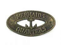 Antique Gold Cast Iron Mermaids Quarters with Anchor Sign 8