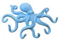 Rustic Light Blue Cast Iron Octopus Hook 11