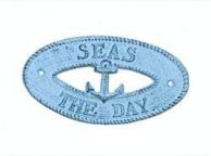 Dark Blue Whitewashed Cast Iron Seas the Day with Anchor Sign 8
