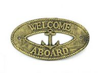 Antique Gold Cast Iron Welcome Aboard with Anchor Sign 8