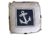 Navy Blue and White Anchor Decorative Nautical Pillow with Rope 15
