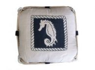 Navy Blue and White Seahorse Decorative Nautical Pillow with Rope 15
