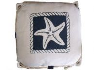 Navy Blue and White Starfish Decorative Nautical Pillow with Rope 15