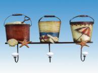 Metal Sand Bucket Trio w- Wall Hook 19