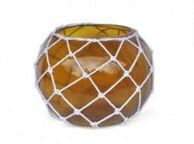Amber Japanese Glass Fishing Float Bowl with Decorative White Fish Netting 10