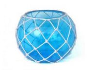Light Blue Japanese Glass Fishing Float Bowl with Decorative White Fish Netting 10