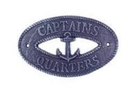 Rustic Dark Blue Cast Iron Captains Quarters with Anchor Sign 8