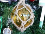 Glass and Rope Amber Fishing Float Christmas Tree Ornament