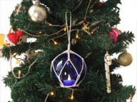 LED Lighted Dark Blue Japanese Glass Ball Fishing Float with White Netting Christmas Tree Ornament 4