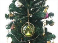LED Lighted Green Japanese Glass Ball Fishing Float with Brown Netting Christmas Tree Ornament 4