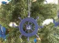Rustic Dark Blue Decorative Ship Wheel With Sailboat Christmas Tree Ornament 6