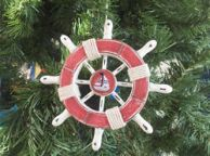 Rustic Red and White Decorative Ship Wheel With Sailboat Christmas Tree Ornament 6