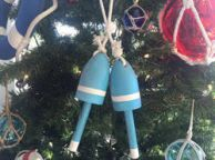 Wooden Light Blue Decorative Lobster Trap Buoy Christmas Ornament 7