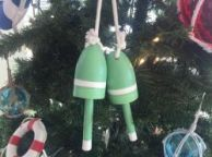 Wooden Light Green Decorative Maine Lobster Trap Buoys Christmas Ornament 7
