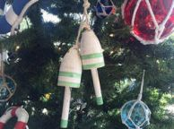 Wooden Vintage Light Green Decorative Maine Lobster Trap Buoys Christmas Ornament 7