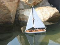 Wooden It Floats 21 - Blue Floating Sailboat Model