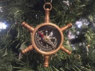 Antique Brass Ships Wheel Compass Christmas Ornament 5