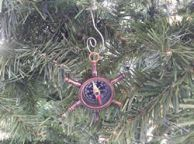 Antique Copper Ship Wheel Compass Christmas Ornament 5