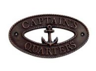 Antique Copper Captains Quarters Oval Sign with Anchor 8""