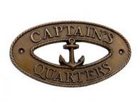 Antique Brass Captains Quarters Oval Sign with Anchor 8""