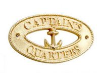 Brass Captains Quarters Oval Sign with Anchor 8""