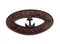 Antique Copper Welcome Aboard Oval Sign with Anchor 8""