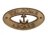 Antique Brass Welcome Aboard Oval Sign with Anchor 8""