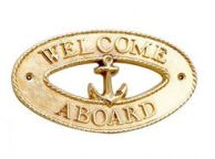 Brass Welcome Aboard Oval Sign with Anchor 8""