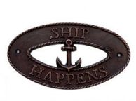 Antique Copper Ship Happens Oval Sign with Anchor 8""