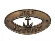 Antique Brass Ship Happens Oval Sign with Anchor 8""