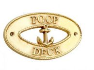 Brass Poop Deck Oval Sign with Anchor 8""