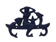 Rustic Dark Blue Whitewashed Cast Iron Wall Mounted Mermaid with Dolphin Hooks 9