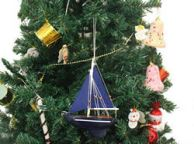 Wooden Deep Blue Sea Model Sailboat Christmas Tree Ornament