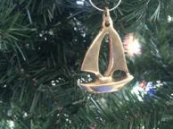 Solid Brass Sailboat Christmas Ornament 5