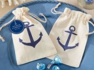 Set of 12 - Anchor Muslin Favor Bags 6