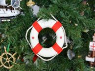 White Lifering with Red Bands Christmas Tree Ornament 6