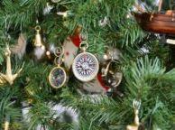 Brass Black-White Compas Christmas Tree Ornament
