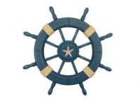 Rustic All Light Blue Decorative Ship Wheel With Starfish 24