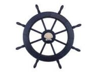 Wooden Rustic All Dark Blue Decorative Ship Wheel With Seashell 30