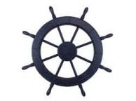 Wooden Rustic All Dark Blue Decorative Ship Wheel 30
