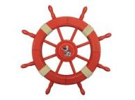 Rustic Red Wood Finish Decorative Ship Wheel With Seagull 24