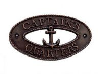 Antique Copper Captain\'s Quarters Sign 9\